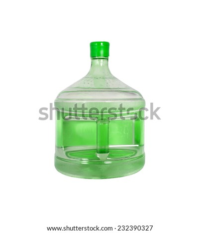 Big bottle of water isolated on white - stock photo