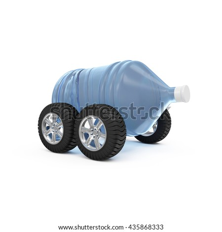 Big Bottle of Water on Wheels isolated on white background. Delivery Concept. 3D Rendering - stock photo