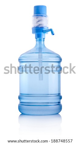 Big bottle of water with pump isolated on white background - stock photo