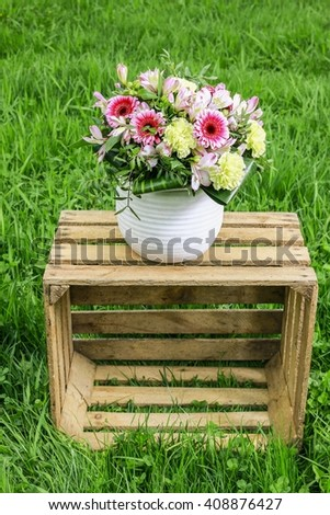 Big bouquet with carnations and gerberas - stock photo