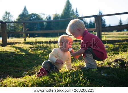 big brother giving ice cream to little brother outdoor - stock photo