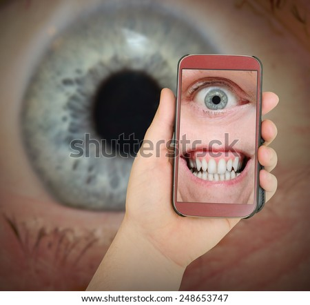 Big Brother is watching you. Internet safety concept. - stock photo