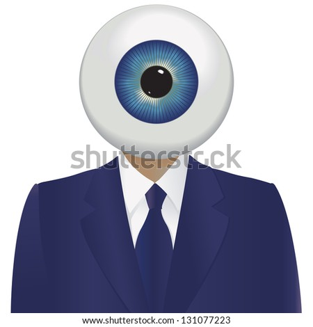 Big brother watching with a large eyeball and a blue suit. - stock photo