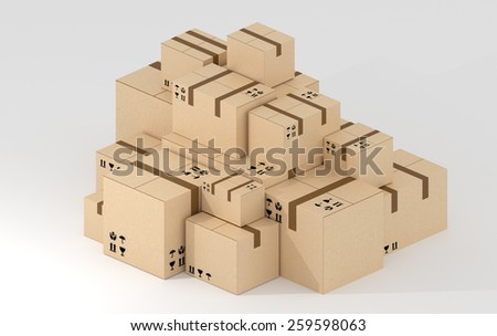 Big brown package boxes stack isolated on white background isometric side view. No address labels. - stock photo