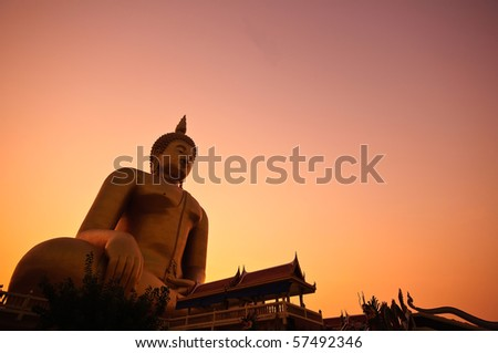 Big buddha in Thailand - stock photo