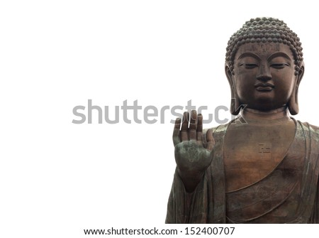 Big buddha isolated on white - stock photo