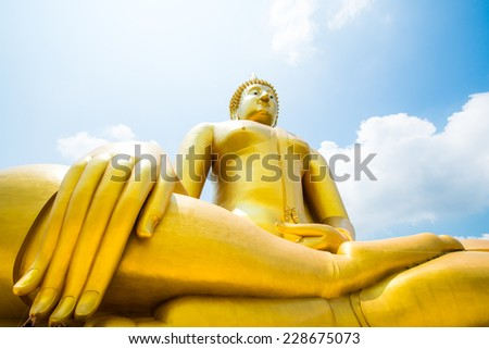 Big Buddha Statue at Thai Temple, Thailand. - stock photo