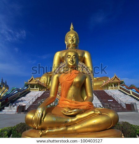 Big buddha statue at Wat muang, Thailand - stock photo