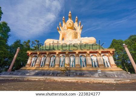 Big Buddha statue in Wat Bang Riang, Phang Nga, Thailand - stock photo