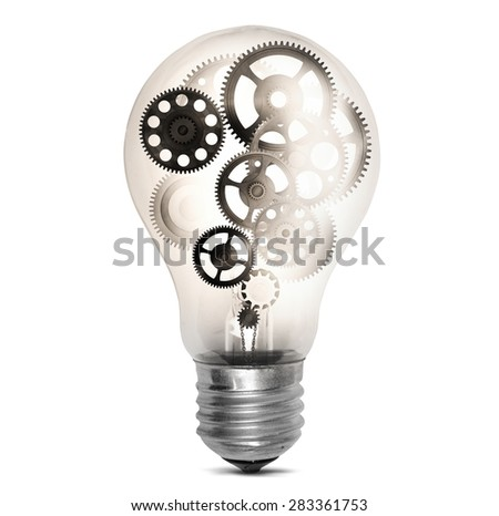 Big bulb light with mechanisms and gear - stock photo