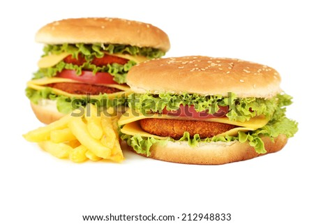 Big burgers isolated on white - stock photo