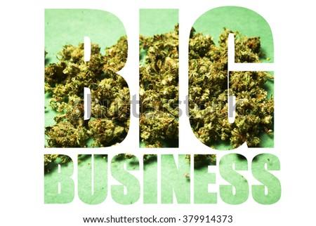 Big Business Marijuana, Image Text on White Background  - stock photo