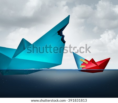 Big business support concept as a giant paper boat sharing a piece of the ship with a smaller vessel as a lending and assistance metaphor for funding and financing. - stock photo