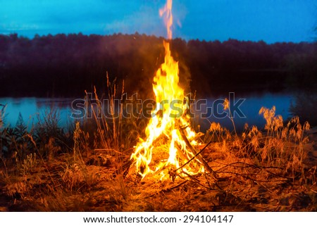 Big campfire at night in the forest under dark blue night sky with many stars - stock photo