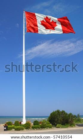 Big Canadian flag. - stock photo