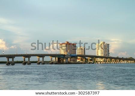 Big Carlos Pass Bridge connecting Fort Myers Beach to Bonita Springs, Florida, USA - stock photo