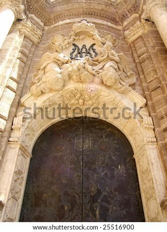 Big Cathedral entrance, Valencia - stock photo