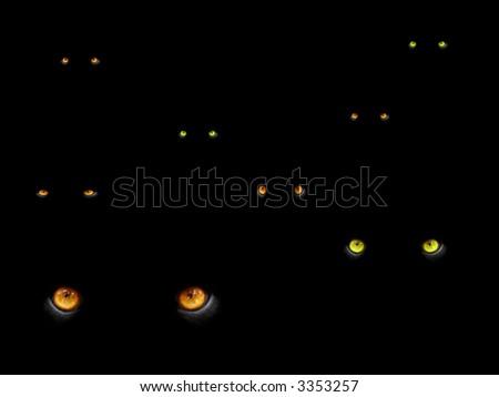big cats eyes in the dark - stock photo