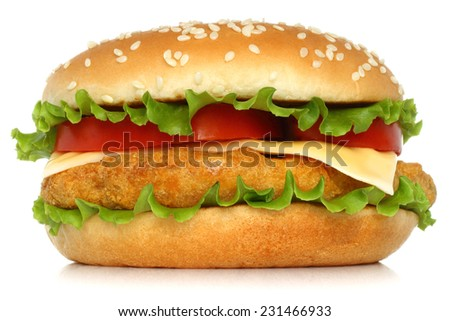 Big chicken hamburger on white backgroung   - stock photo