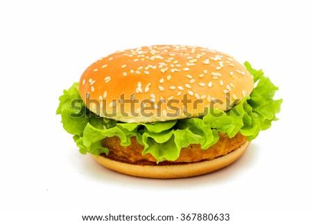 Big chicken hamburger on white backgroung - stock photo
