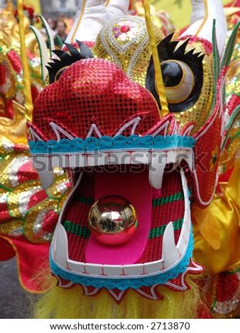 Big Chinese New Year dragon at parade - stock photo