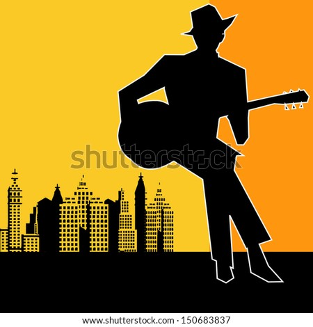 Big city  Blues Guitar Concert, Poster or Flyer for an Acoustic Gig - stock photo