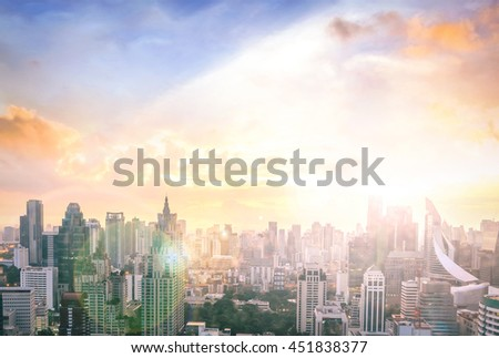 Big city concept. Aerial Amazing Beauty Light Hotel Resident Asia Market Town Glow Sun Hope Nature Brown Industry Sepia Capital Backdrop Economy Horizon Night Research Meeting Old Colorful Abstract. - stock photo