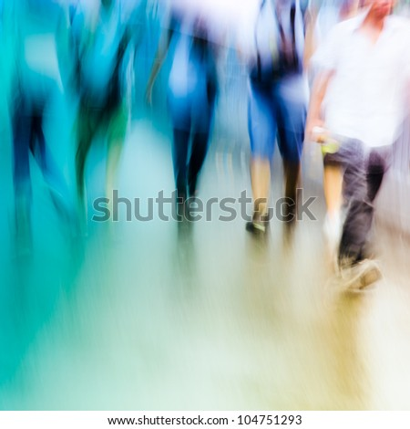 big city people walk on road in rainy day, blured motion abstract background. - stock photo