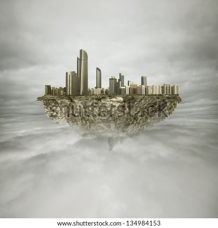 big cityon the rock in the sky - stock photo