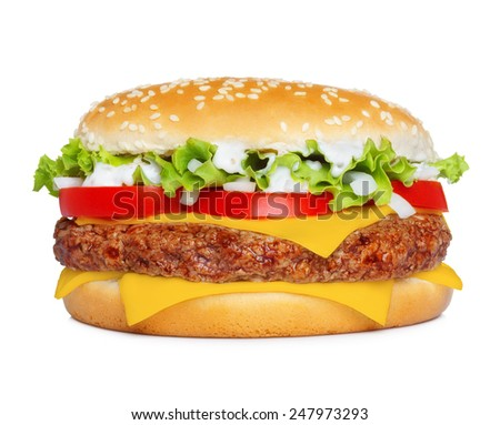Big classic hamburger isolated on white - stock photo