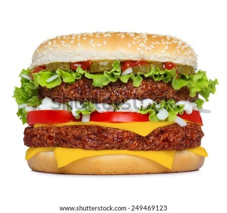 Big classic hamburger isolated on white background - stock photo