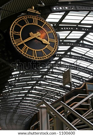 Big clock at York train station, England - stock photo