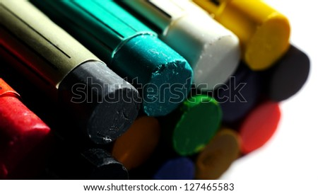 Big Close Up of Oil Pastel Crayons. - stock photo