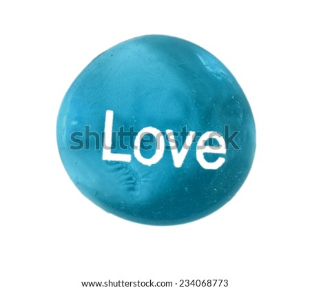 Big Close Up Shot Of 'Love' Stone On White Background/ Just Say Love - stock photo