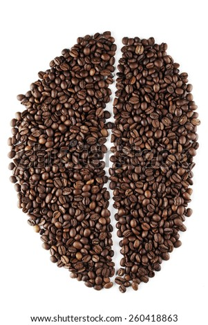 Big coffee bean shape made of coffee beans isolated on white background - stock photo