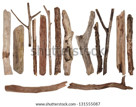 Big collection dry branches isolated on white background, (high resolution) - stock photo