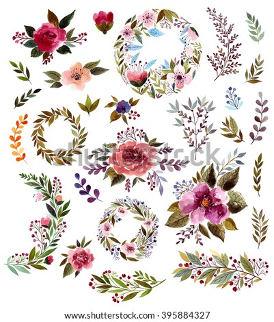 Big collection: floral wreath, roses and leaves. Perfect for wedding invitations, greeting cards, logos, labels, badges, packaging, stationary, posters, websites and other. Floral elements and leaves - stock photo