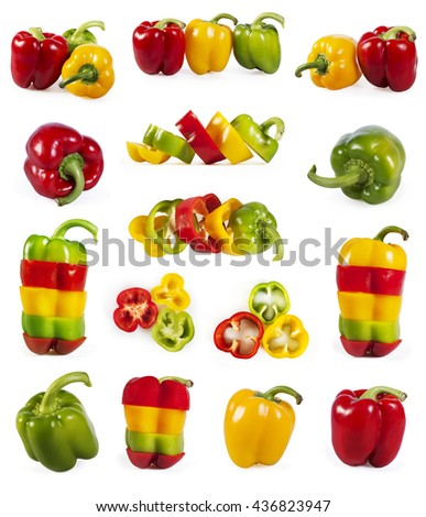 Big collection of red, green and yellow capsicum isolated on white background - stock photo