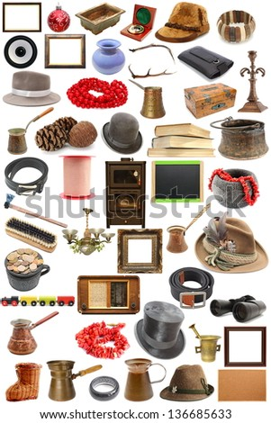 big collection of vintage objects  over white background - stock photo