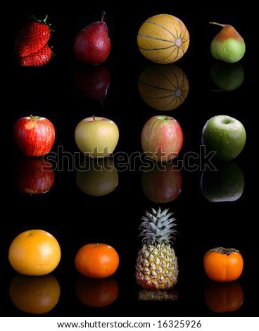 Big collection with lots fruits on black . - stock photo