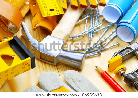 big composition of construction tools - stock photo