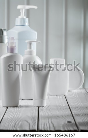big composition of skincare objects - stock photo
