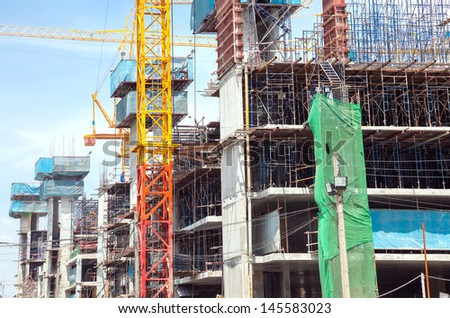 Big Construction Site with Cranes - stock photo