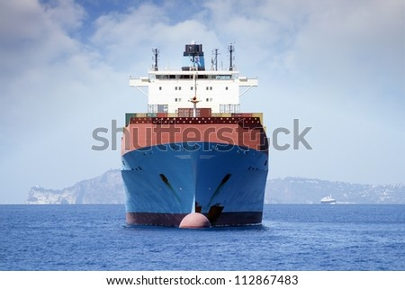 Big containers carrier anchored - stock photo