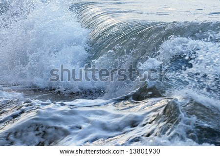 Big crashing waves in a stormy ocean - stock photo