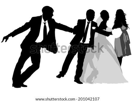 Big crowds people of wedding on white background - stock photo