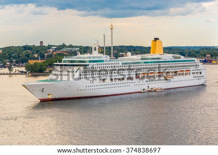 Big cruise ship in Stockholm, Sweden in a summer day - stock photo