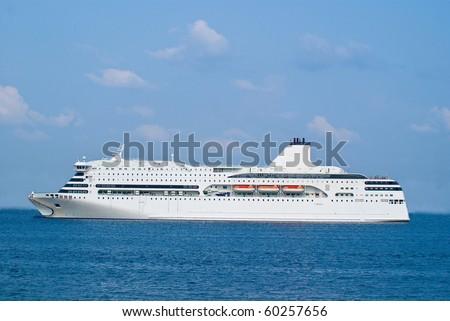 Big cruise ship open sea - stock photo