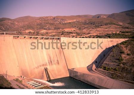 Big Dam on Guadalfeo River - stock photo