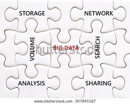 Big data and related words on jigsaw puzzle background, big data, technology and business concept - stock photo